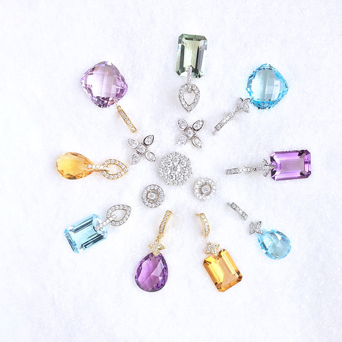 GREEN AMETHYST, AMETHYST,  BLUE TOPAZ & CITRINE EARRINGSIN WHITE & YELLOW GOLD & DIAMONDSCIRCLE DIAMOND EARRINGSSIGNATURE SEVILLA DIAMOND EARRINGSSNOW FLAKE DIAMOND PENDANT