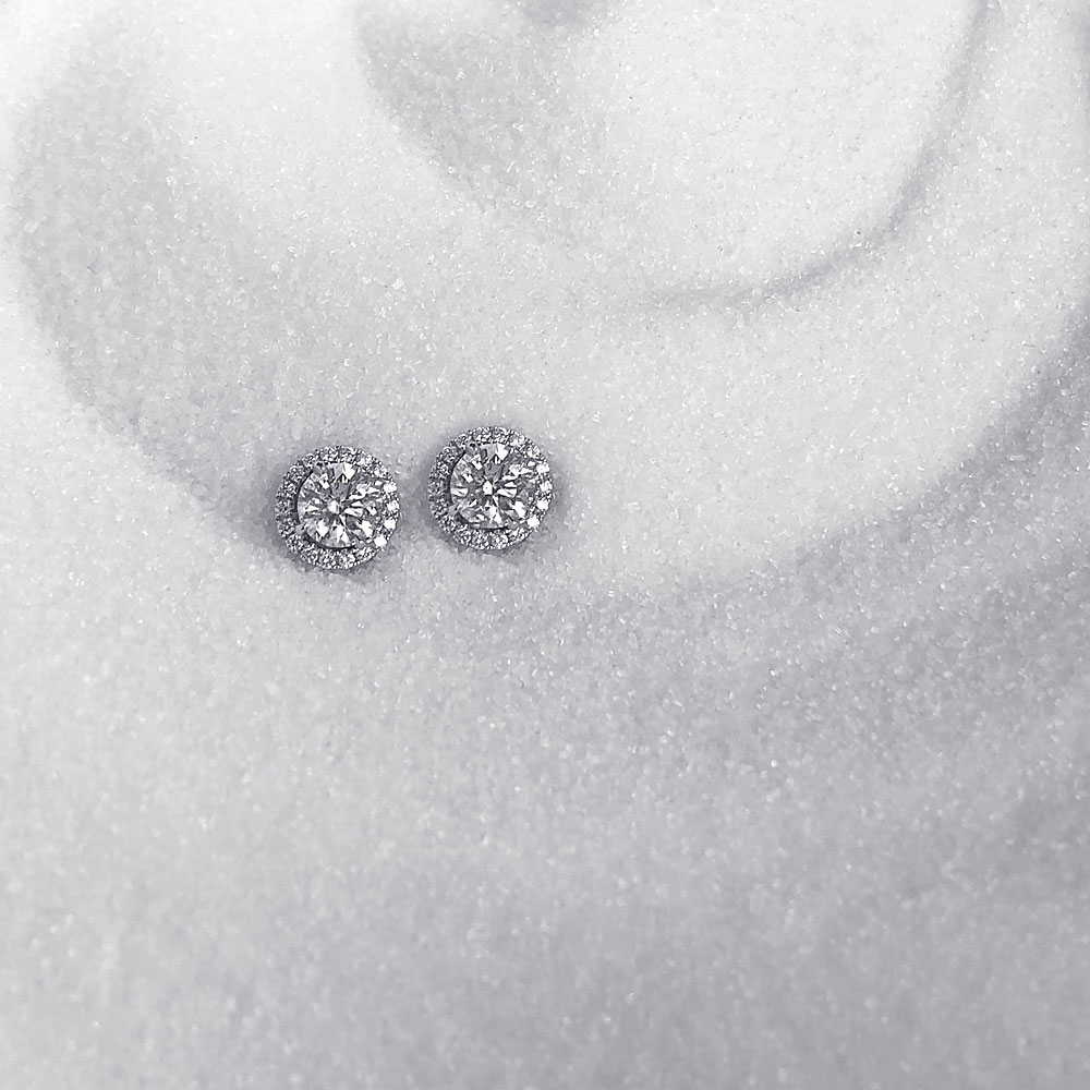 DIAMOND STUDS PAIRED WITH DIAMOND JACKETS IN WHITE GOLD TO ORDER