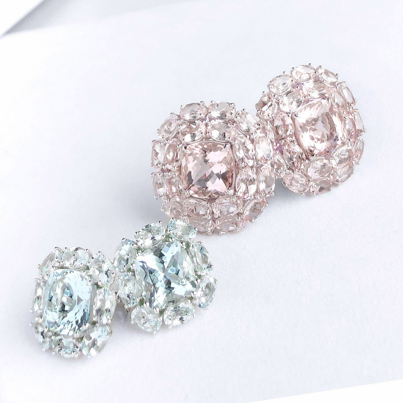 Annabelle Earrings. Morganite & Aquamarine