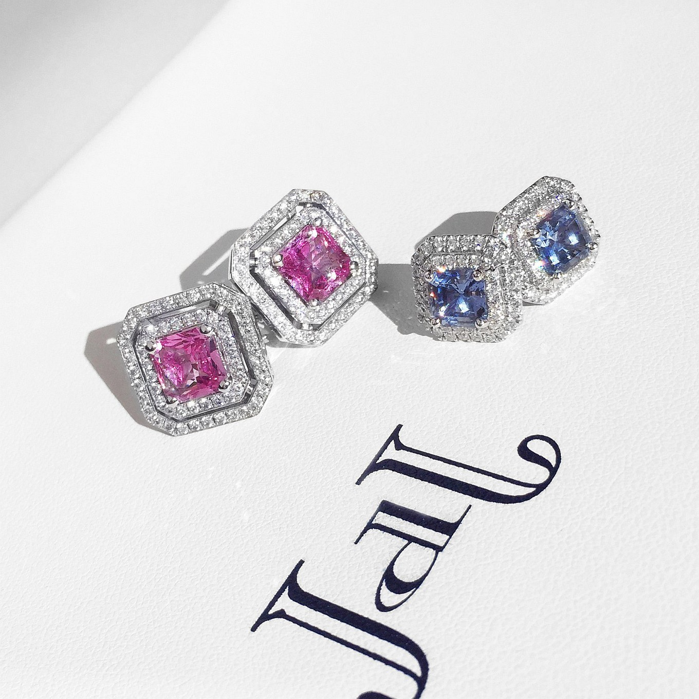 Frame Earrings. Pink & Blue Sapphires
