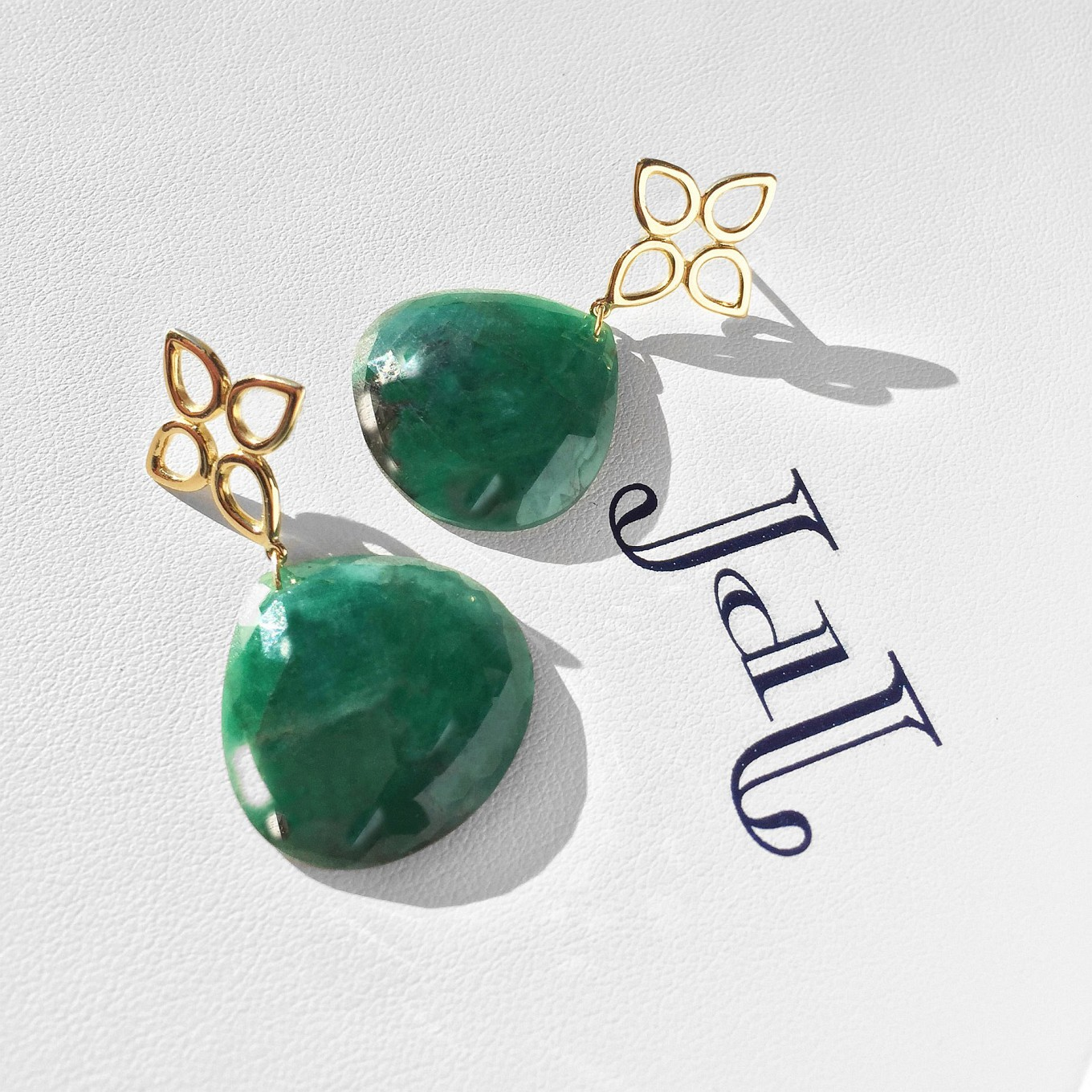 Rose Cut Emerald Earrings