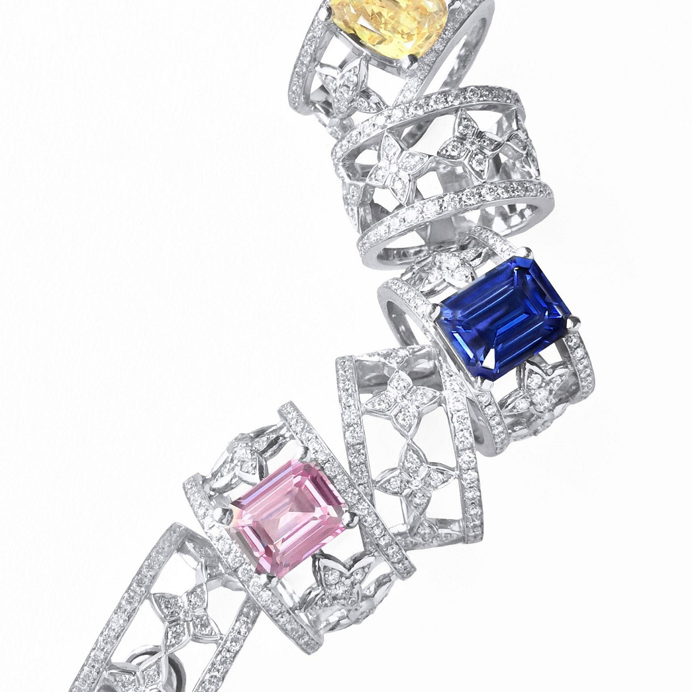 Pink - Blue - Yellow Sapphire & diamond. earrings & rings