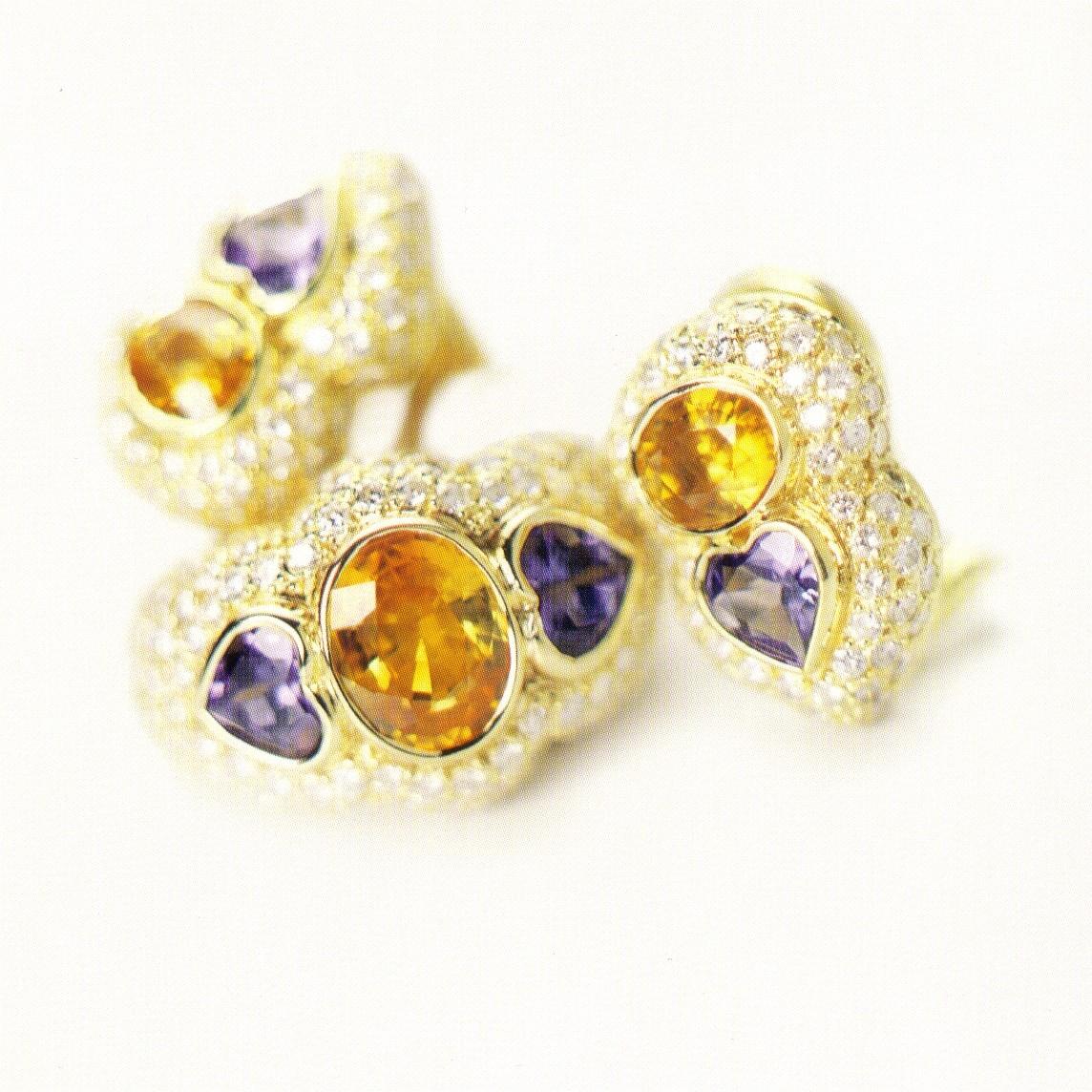 YELLOW SAPPHIRE, TANZANITE & PAVE DIAMOND EARRINGS & RING