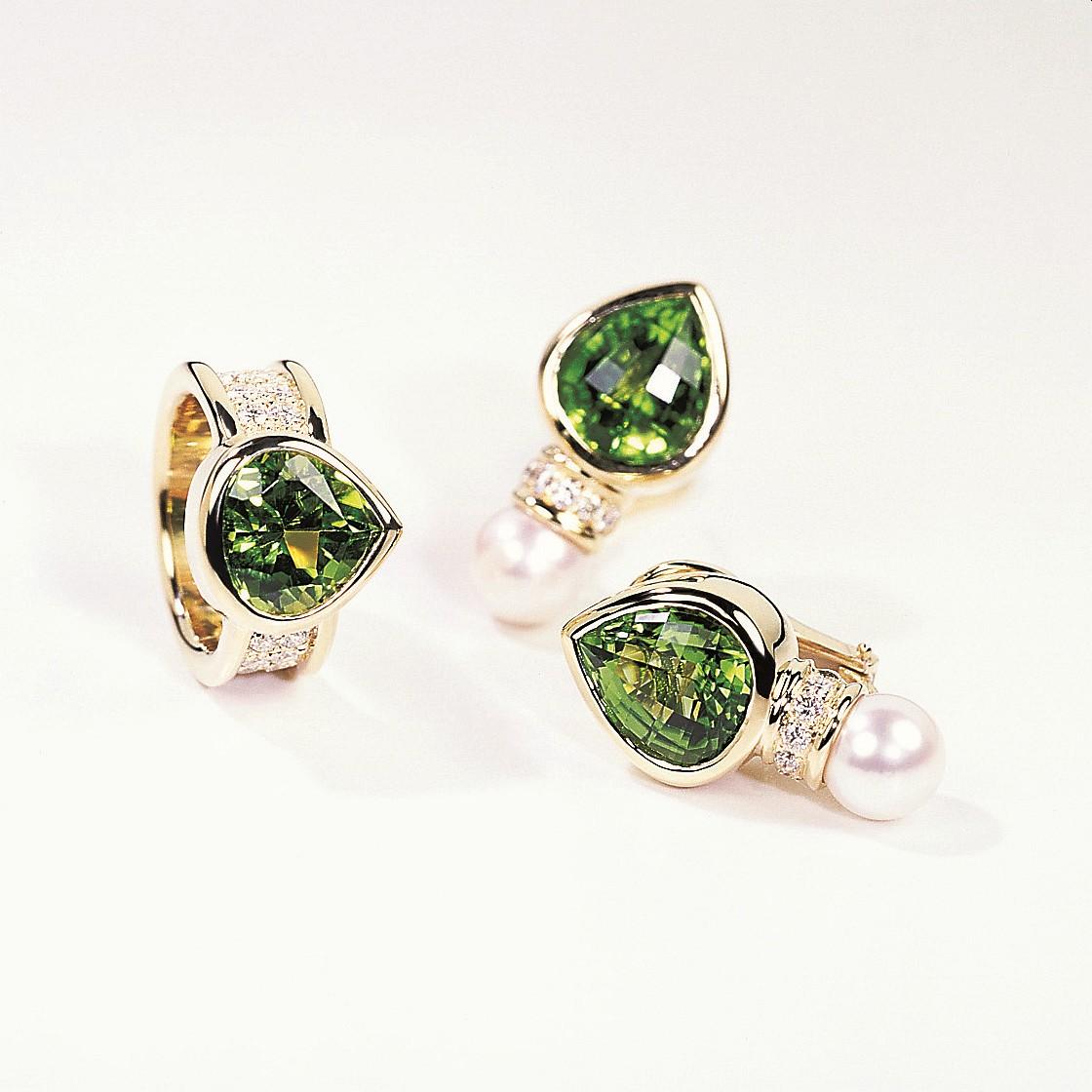 PERIDOT, PEARL & DIAMOND EARRINGS & RING