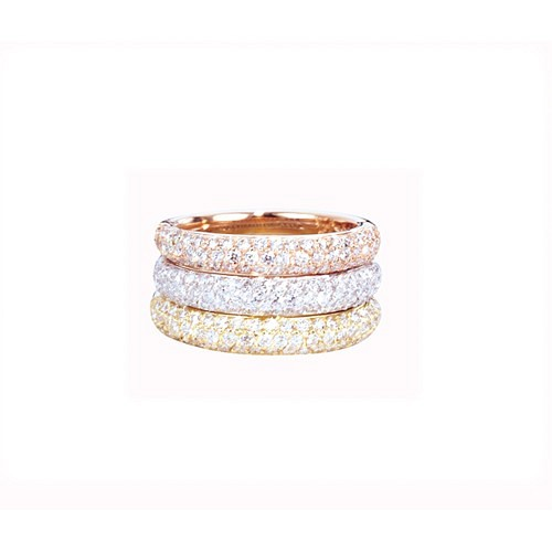 WHITE, YELLOW & PINK GOLD PAVE STACKING RINGS