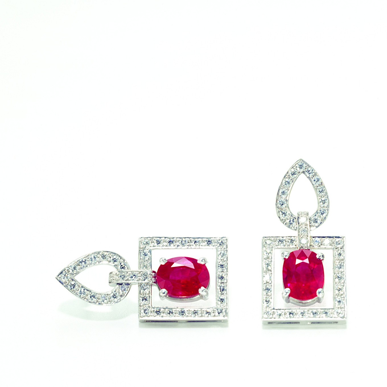 'FRAME' EARRINGS WITH BURMESE RUBIES & DIAMONDS