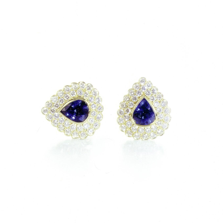 SAPPHIRE & DIAMOND EARRINGS IN YELLOW GOLD