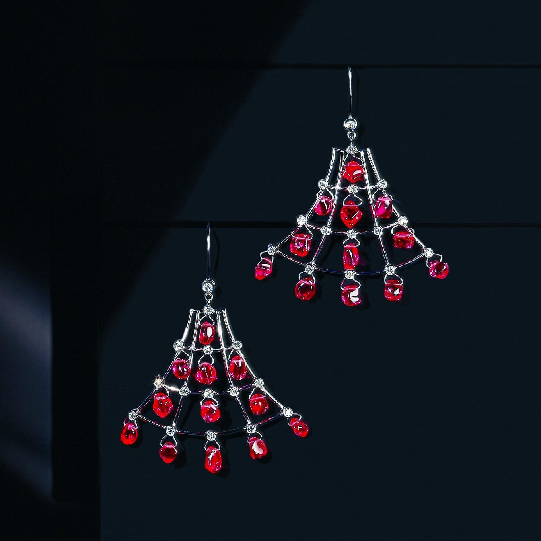 'ALHAMBRA' BURMESE SPINEL & DIAMOND EARRINGS - SPINELS 26.07 CTS