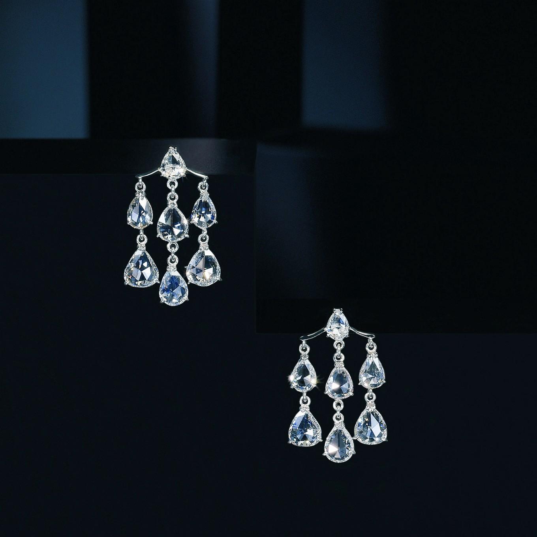 ROSE CUT DIAMOND 'PAGODA' EARRINGS IN PLATINUM 4.06CTS