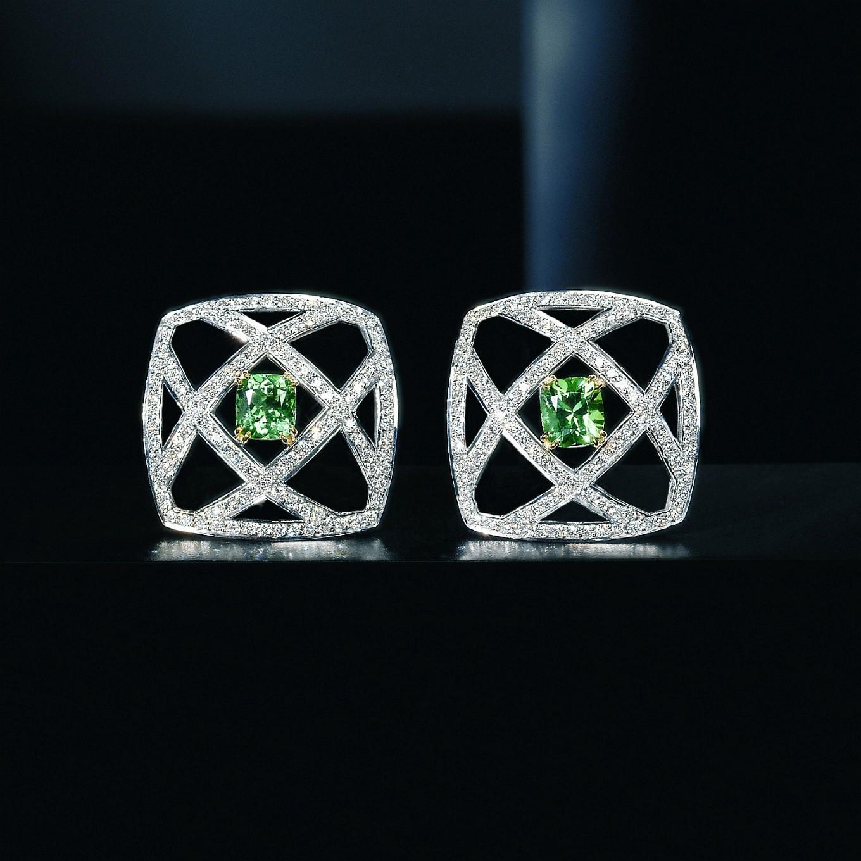 'TREILLAGE' COLOMBIAN EMERALD & DIAMOND EARRINGS