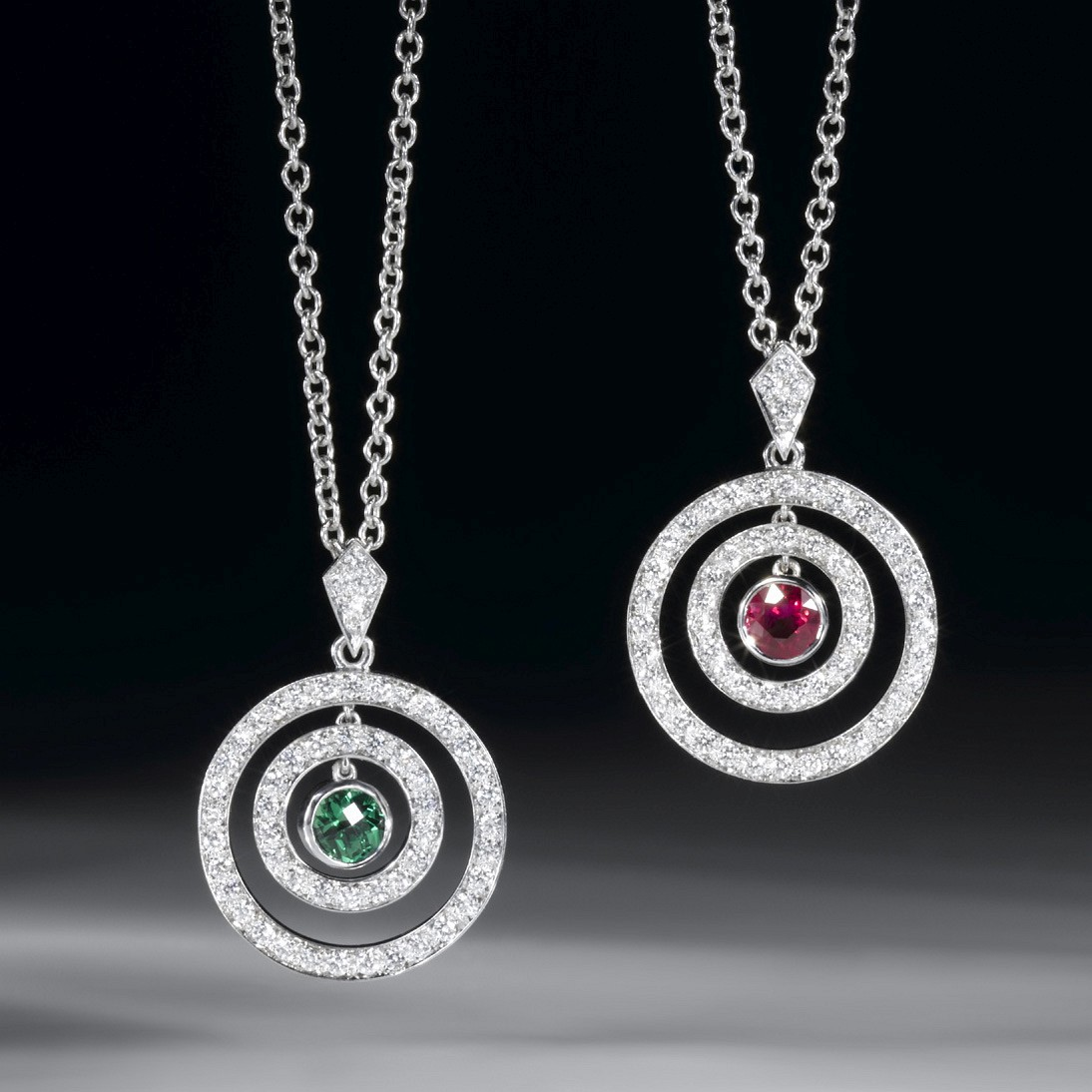 CIRCLE PENDANTS: RUBY & DIAMOND. TSAVORITE GARNET & DIAMOND