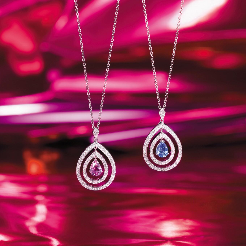 PINK SAPPHIRE & DIAMOND 'FRAME' PENDANT. BLUE SAPPHIRE & DIAMOND 'FRAME' PENDANT