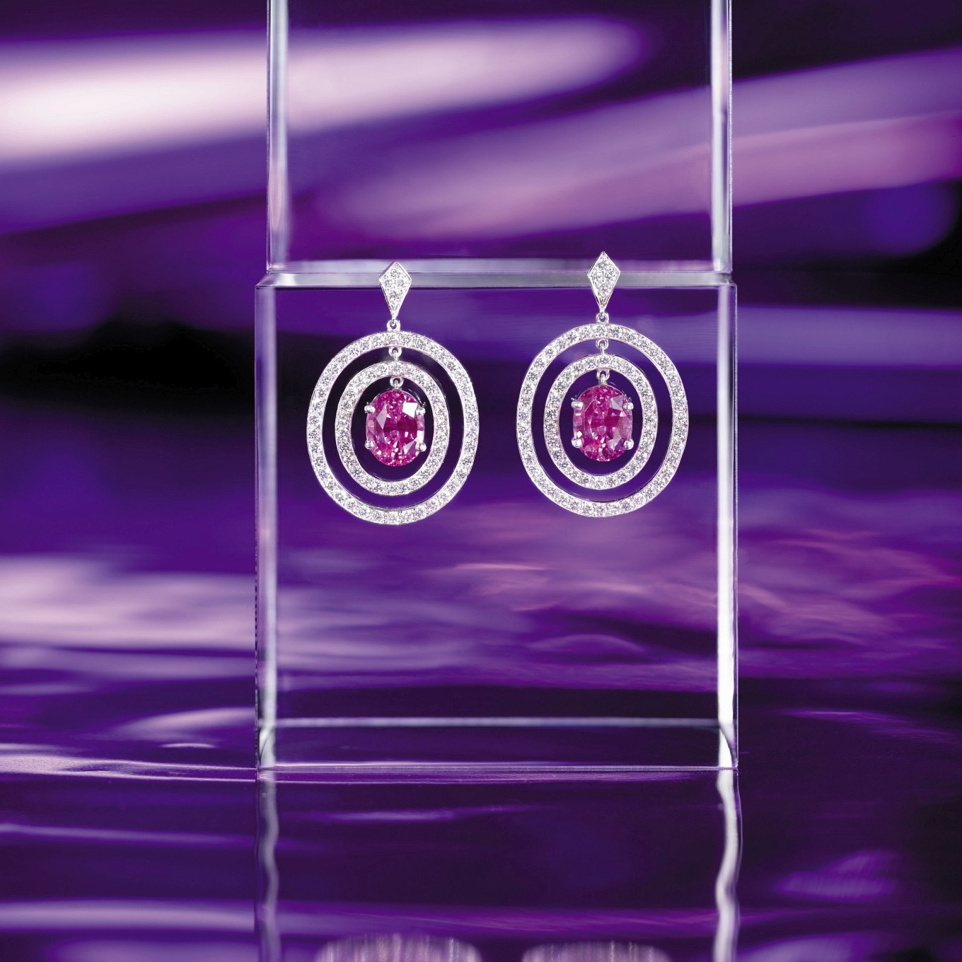 OVAL PINK SAPPHIRE & DIAMOND 'FRAME' EARRINGS