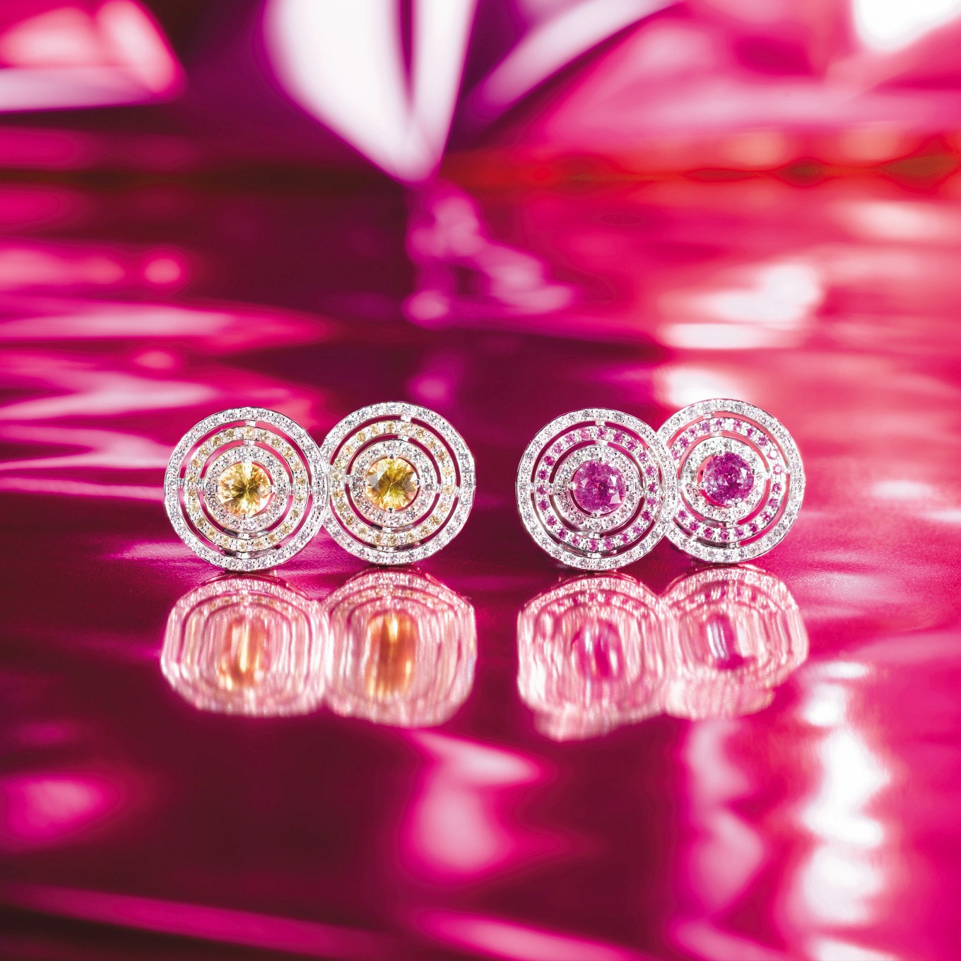 YELLOW SAPPHIRE & DIAMOND 'CIRCLE' EARRINGS. PINK SAPPHIRE & DIAMOND 'CIRCLE' EARRINGS
