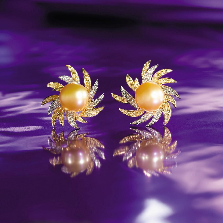 NATURAL YELLOW SOUTH SEA PEARL, YELLOW SAPPHIRE, & DIAMOND 'FLAME' EARRINGS