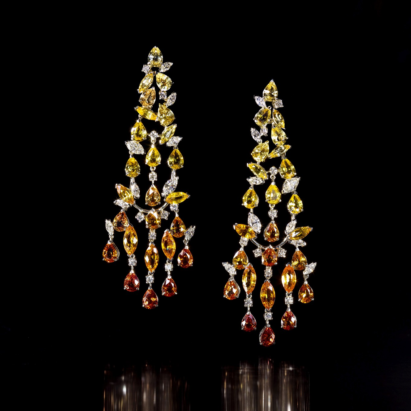 FANCY COLOURED SAPPHIRE & DIAMOND EARRINGS WITH DETACHABLE LOWER SECTION