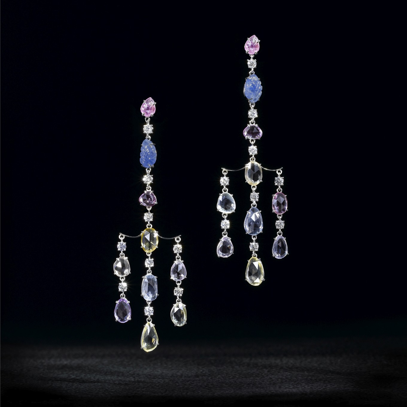 FANCY COLOURED CARVED & ROSE CUT SAPPHIRE & DIAMOND EARRINGS IN PLATINUM