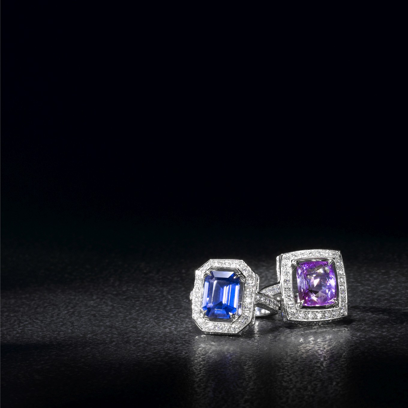 BLUE SAPPHIRE FRAME RING WITH DIAMONDS. PURPLE SAPPHIRE FRAME RING WITH DIAMONDS