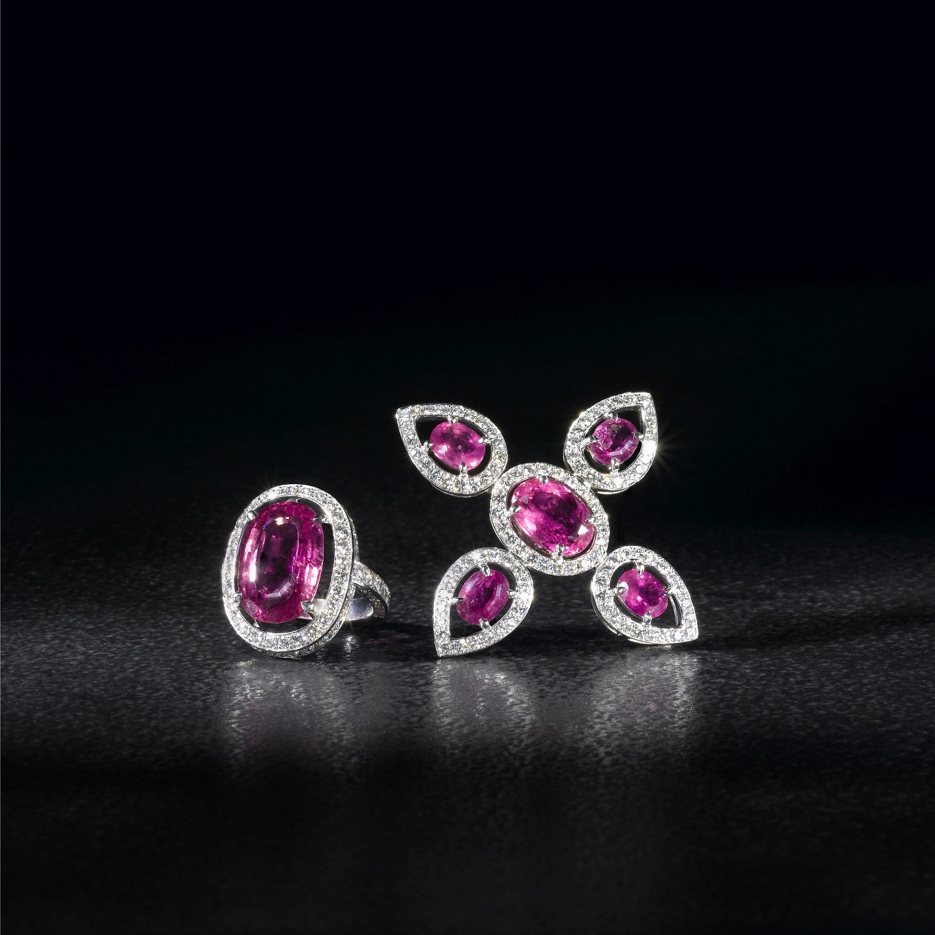 RUBELLITE & DIAMOND FRAME  BROOCH. RUBELLITE & DIAMOND FRAME RING