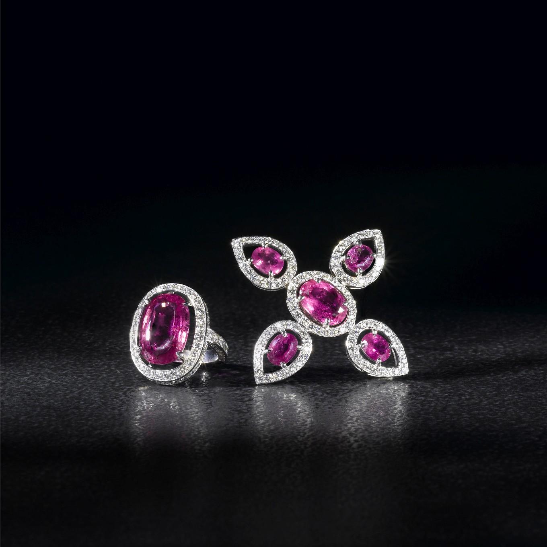 RUBELLITE & DIAMOND FRAME  BROOCH. RUBELLITE & DIAMOND FRAME RING
