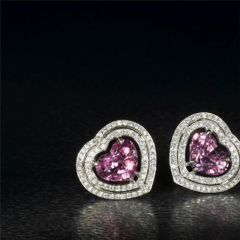 PINK SPINEL & DIAMOND EARRINGS