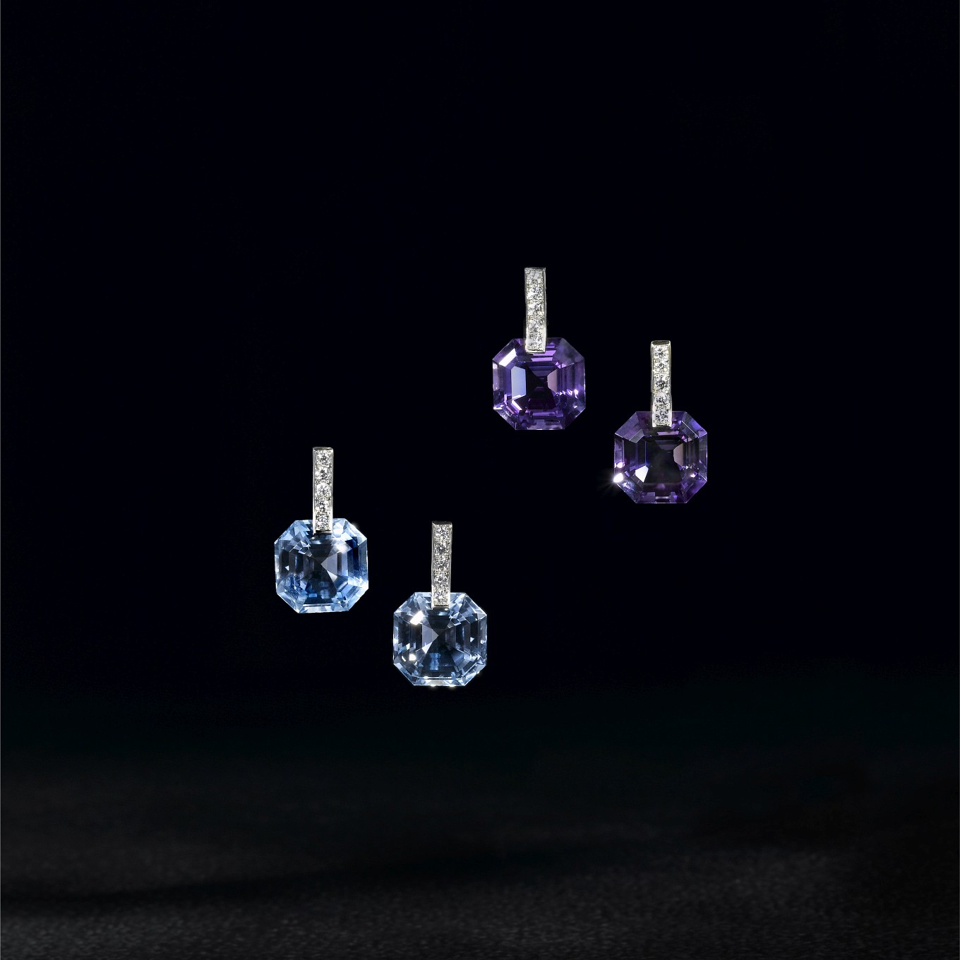 OCTAGONAL BLUE TOPAZ & DIAMOND EARRINGS. OCTAGONAL AMETHYST & DIAMOND EARRINGS