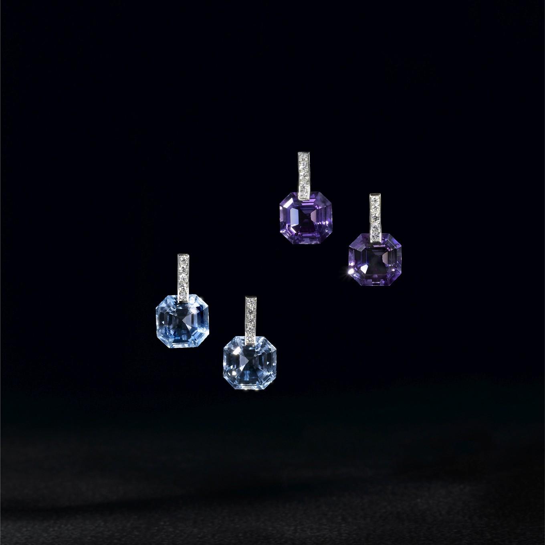 OCTAGONAL BLUE TOPAZ & DIAMOND EARRINGS. OCTAGONAL AMETHYST & DIAMOND EARRINGS