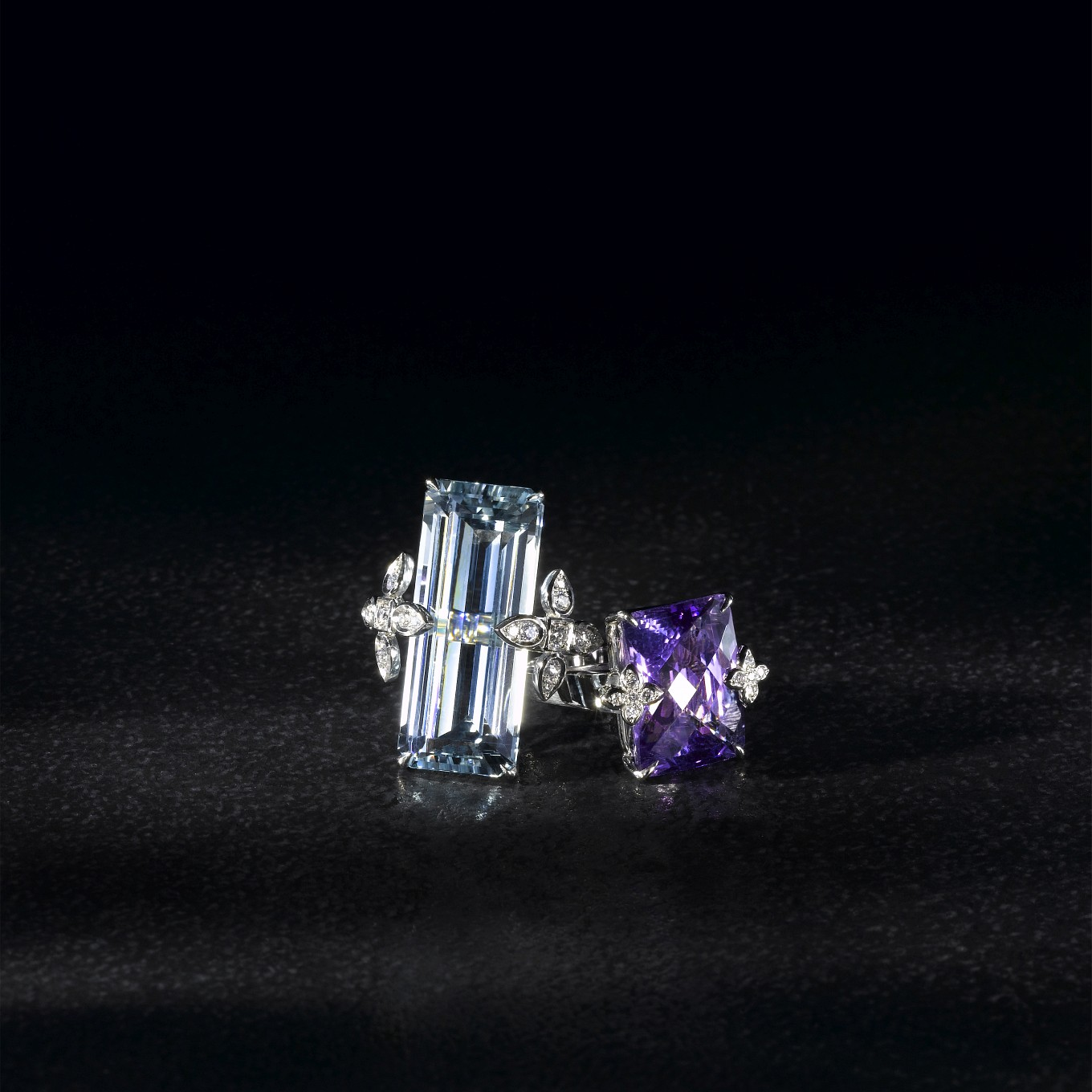 AQUAMARINE & DIAMOND SEVILLA RING. AMETHYST & DIAMOND SEVILLA RING