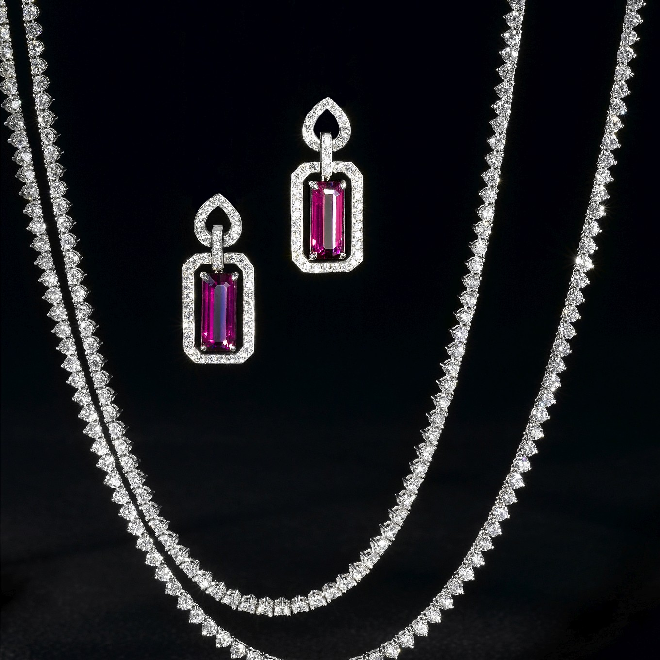 RUBELLITE & DIAMOND FRAME EARRINGS. ETERNITY DIAMOND NECKLACE