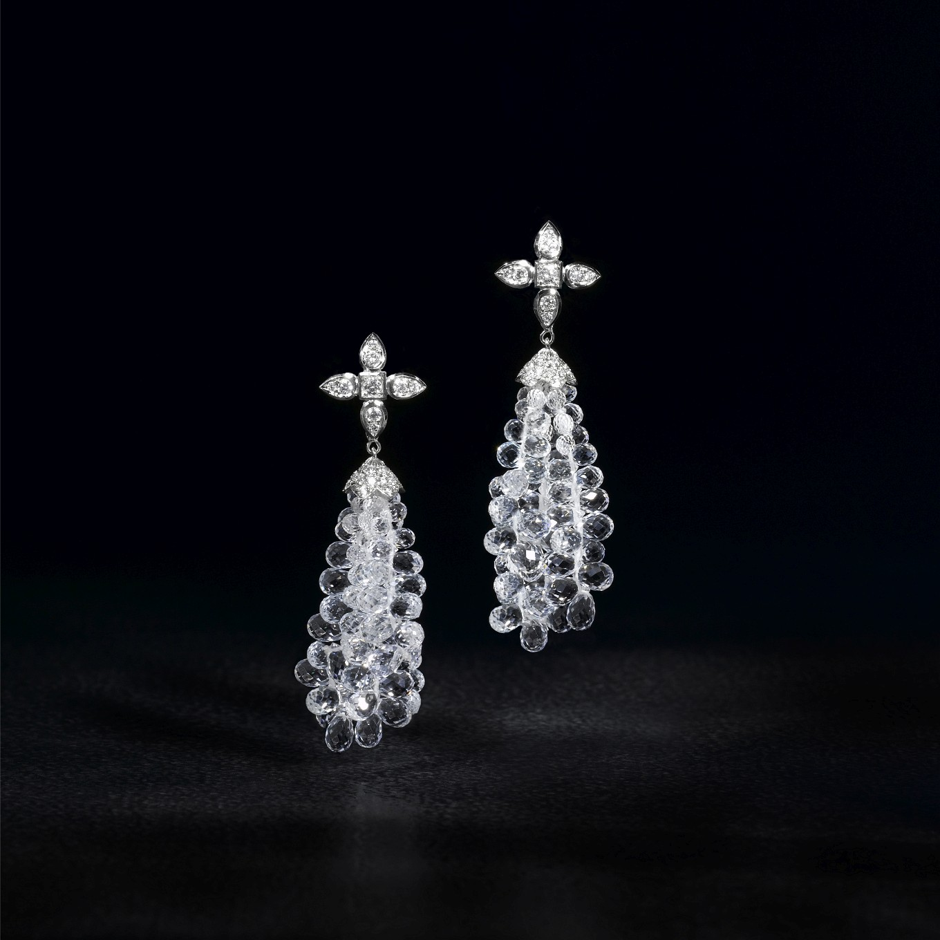 SEVILLA DIAMOND EARRINGS WITH DETACHABLE WHITE TOPAZ BRIOLETTE DROPS