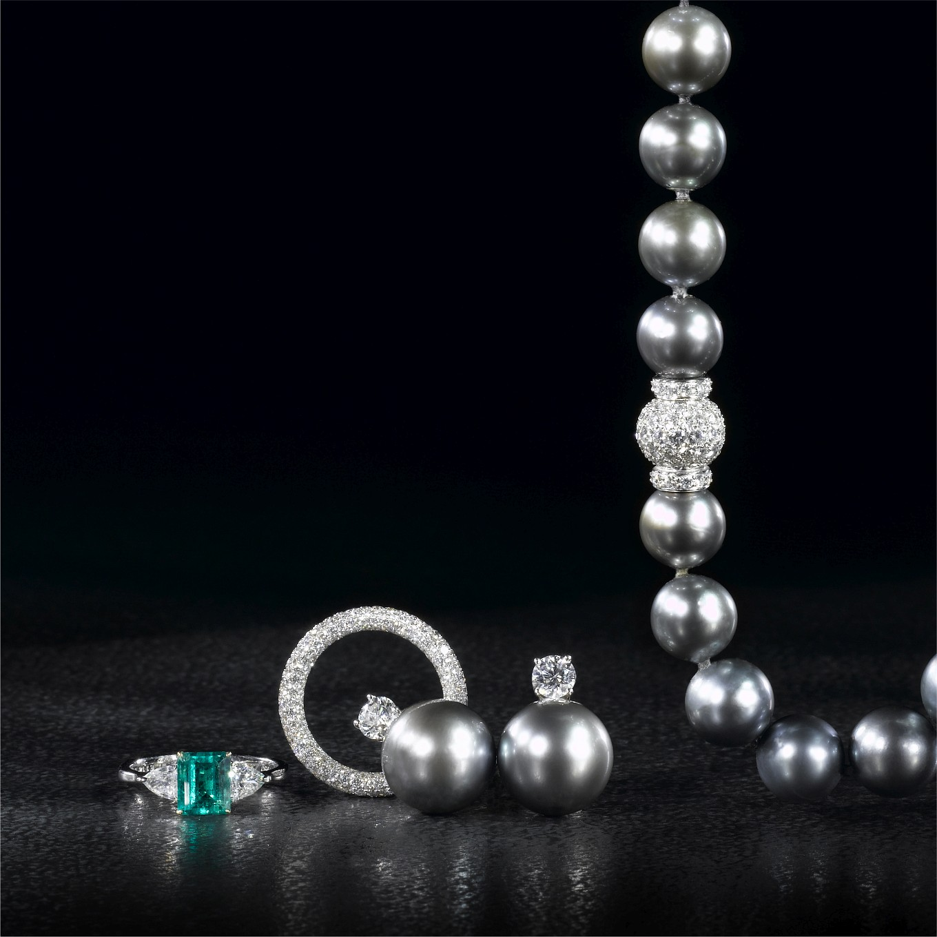 EMERALD CUT EMERALD & DIAMOND RING.  FULL DIAMOND PAVE ETERNITY BAND. TAHITIAN PEARL & DIAMOND EARRINGS. TAHITIAN PEARL NECKLACE WITH PAVE DIAMOND CLASP