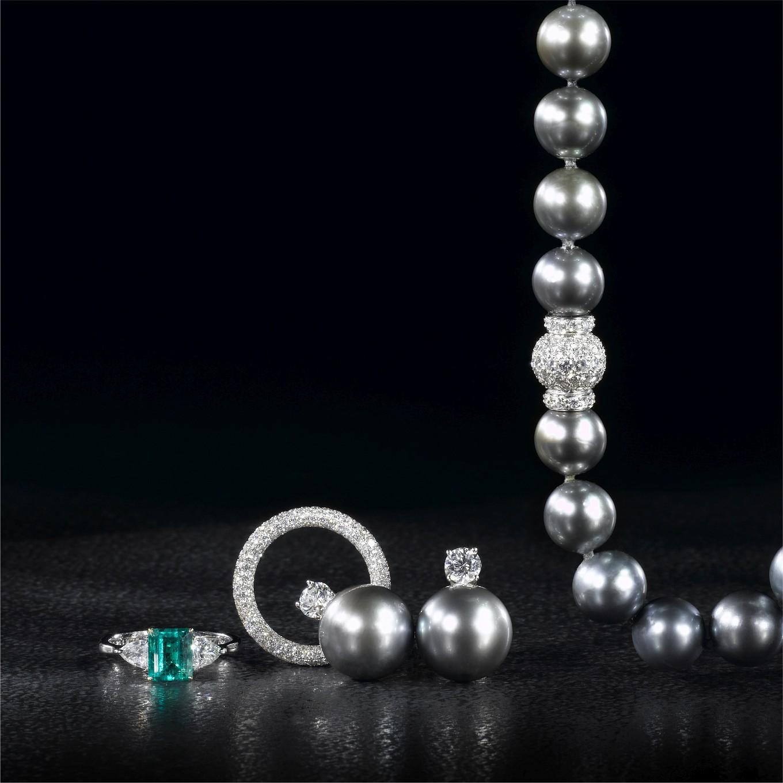 EMERALD CUT EMERALD & DIAMOND RING.  FULL DIAMOND PAVE ETERNITY BAND. TAHITIAN PEARL & DIAMOND EARRINGS. TAHITIAN PEARL NECKLACE WITH PAVE DIAMOND CLASP