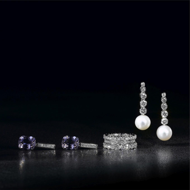 MORGANITE & DIAMOND EARRINGS. DIAMOND ETERNITY BANDS. DIAMOND & FRESHWATER PEARL EARRINGS
