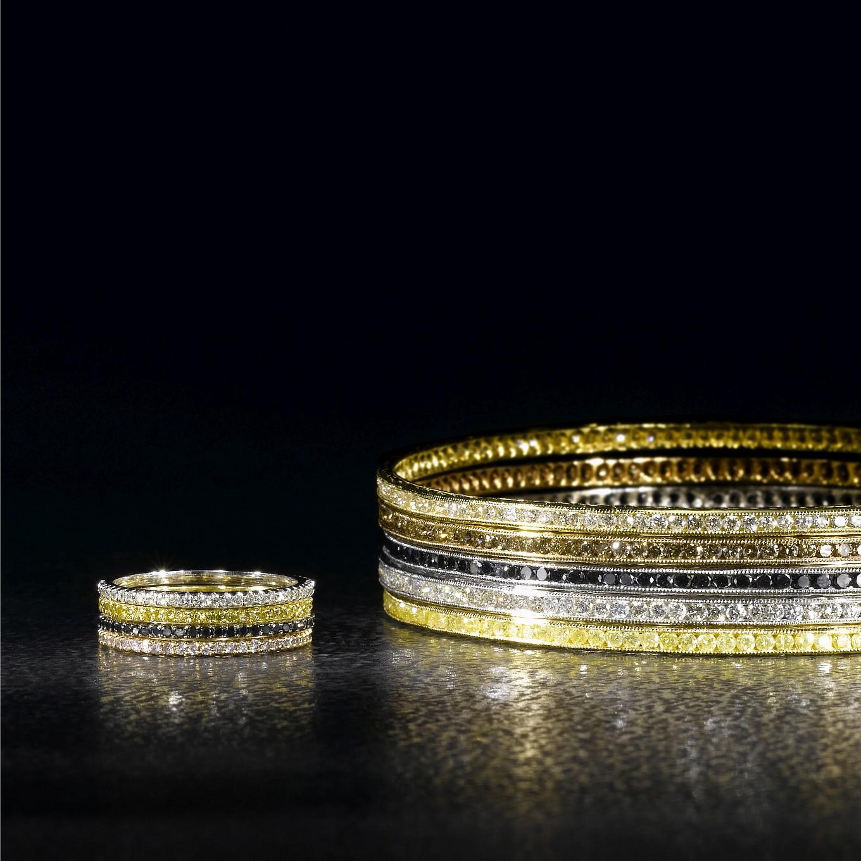 WHITE, YELLOW, PINK & BLACK MICRO PAVE DIAMOND BANDS. WHITE, BLACK, COGNAC & YELLOW DIAMOND BANGLES