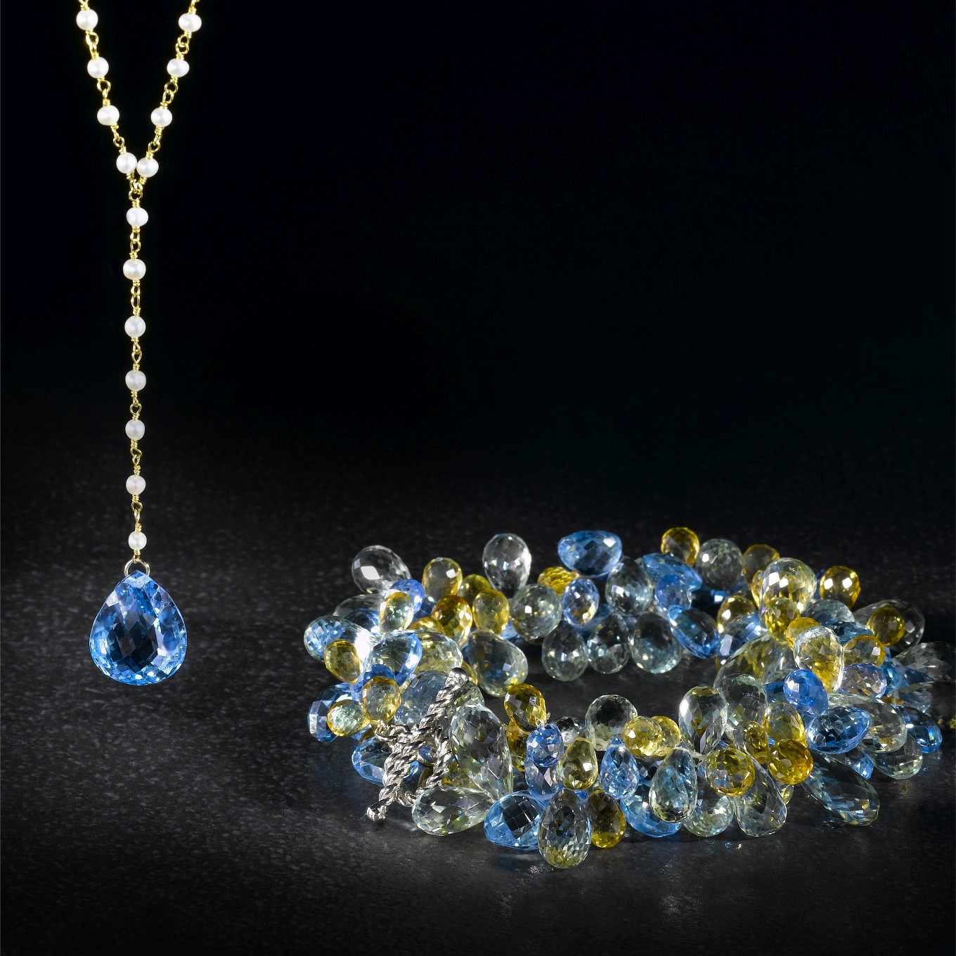 NATURAL PEARL DROP NECKLACE WITH PEAR SHAPED BLUE TOPAZ. BRIOLETTE NECKLACE WITH GREENAMETHYST, BLUE TOPAZ & CITRINE