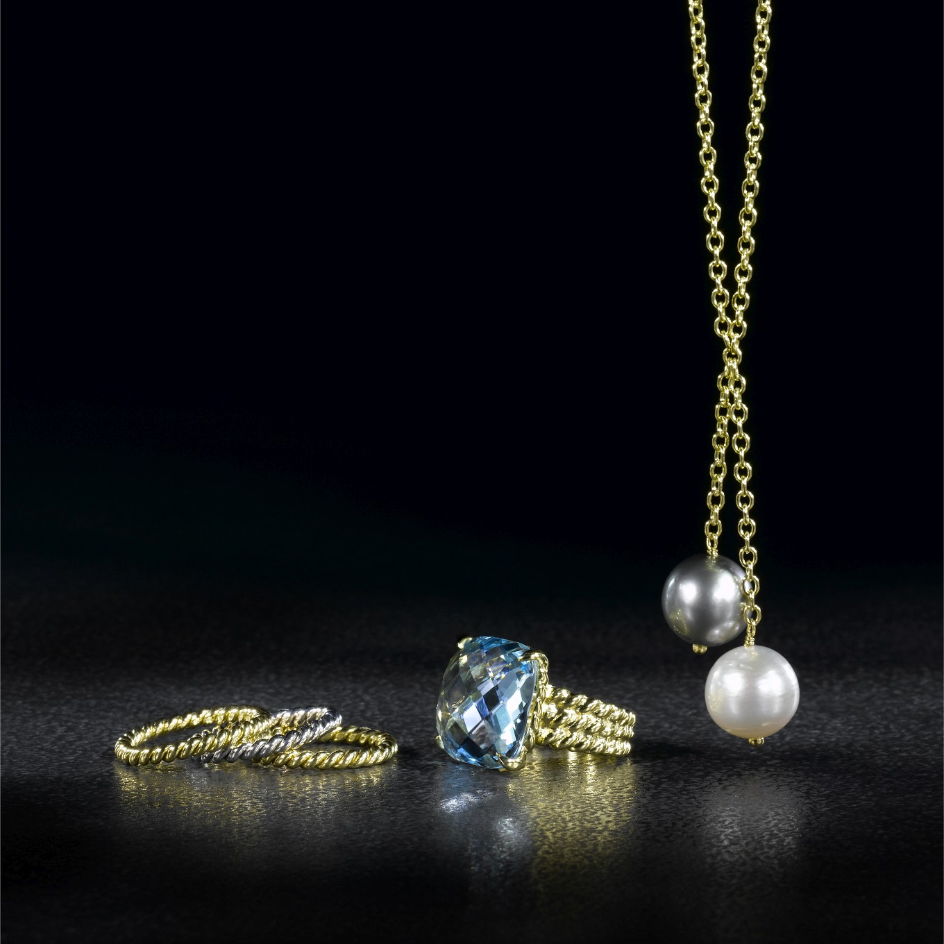 BRAIDED BANDS IN WHITE OR YELLOW GOLD. TOPAZ CHEQUERBOARD BRAID RING. TAHITIAN & WHITE SOUTHSEA PEARL DROP NECKLACE WITH HANDMADE CHAIN