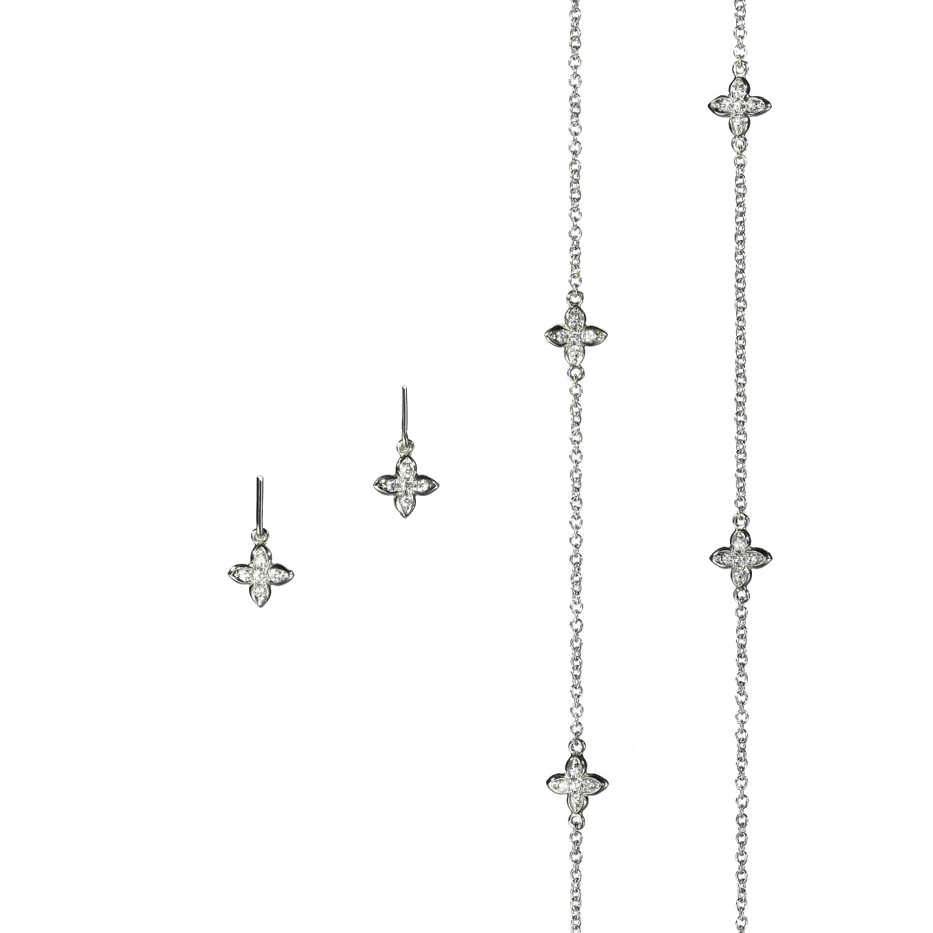 Diamond Sevilla necklace & earrings in white gold