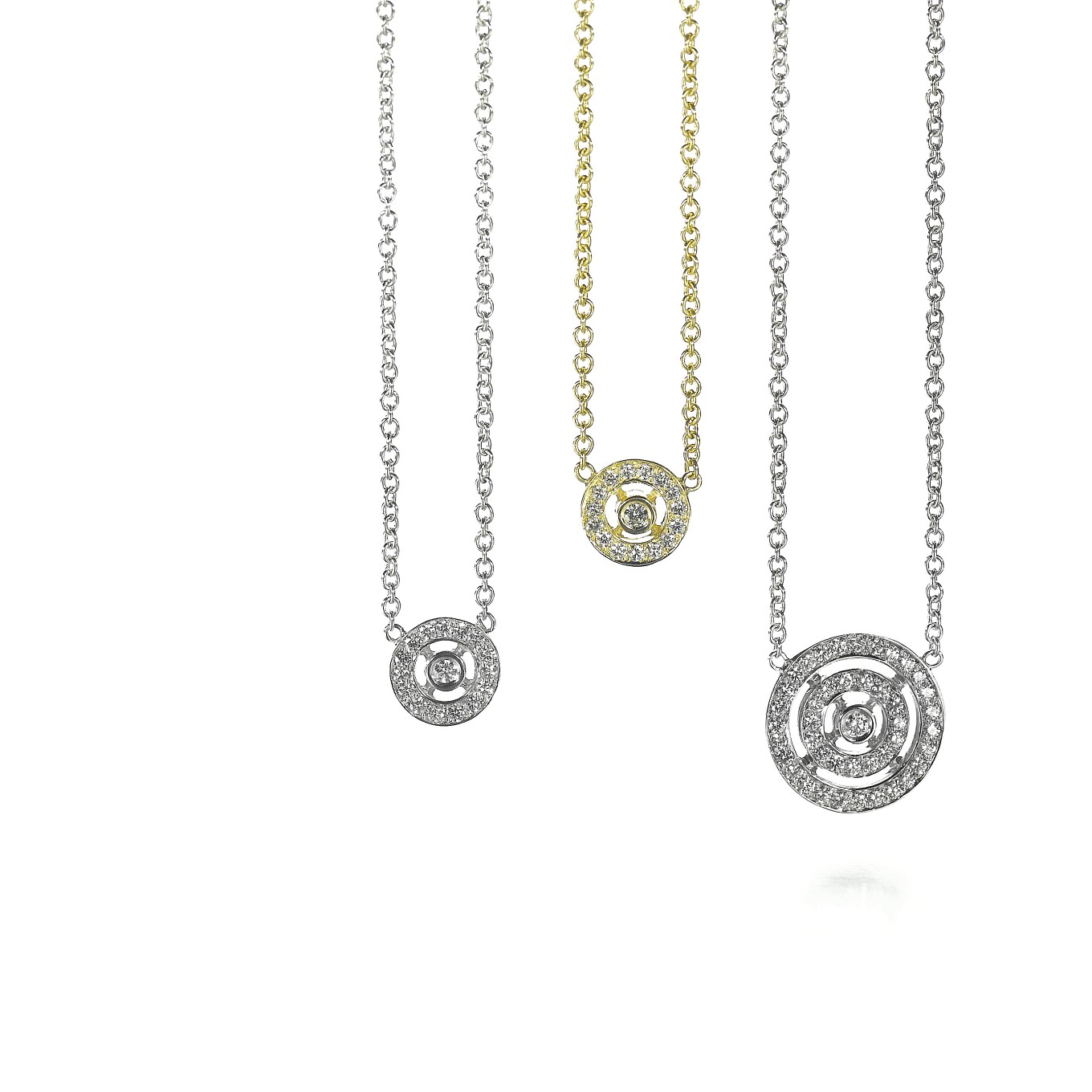 CIRCLE DIAMOND PENDANTS IN WHITE OR YELLOW GOLD. DOUBLE CIRCLE DIAMOND PENDANT IN WHITE GOLD