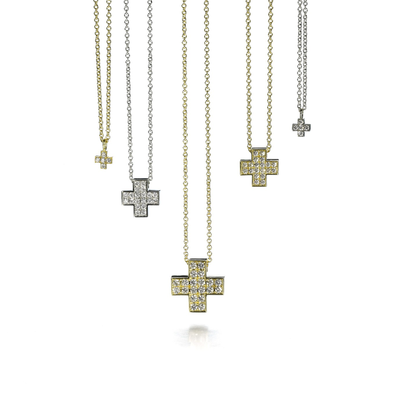 CLASSIC DIAMOND CROSSES IN WHITE OR YELLOW GOLD