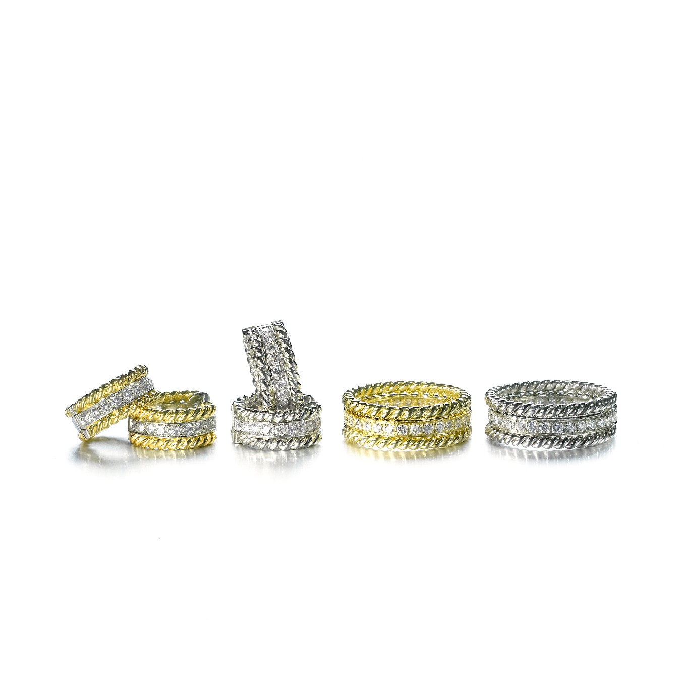 BRAID DIAMOND EARRINGS IN WHITE OR YELLOW GOLD. BRAID DIAMOND EARRINGS IN ALL WHITE GOLD. STACKED ETERNITY & BRAIDED BANDS RINGS IN ALL YELLOW & ALL WHITE GOLD