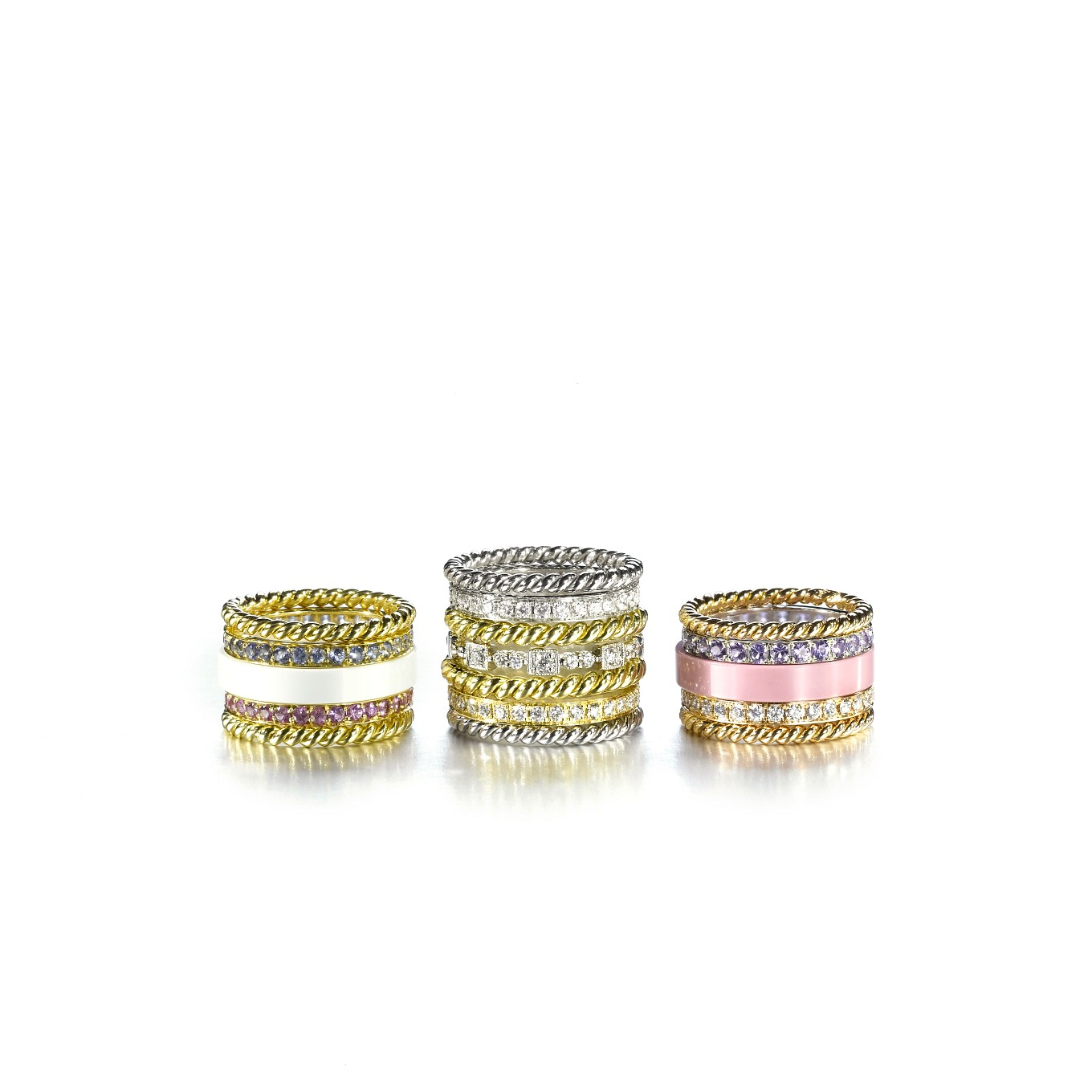 STACKING RINGS - BRAIDED BANDS WITH GEMSTONE & DIAMOND ETERNITY BANDS & CERAMIC STACKERS
