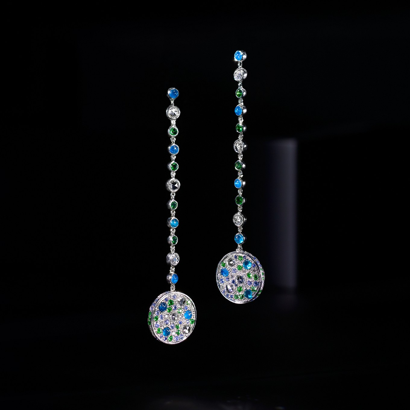 PEACOCK EARRINGS WITH ROSE CUT DIAMONDS, APATITE CABOCHONS, BLUE SAPPHIRES & TSAVORITE GARNETS