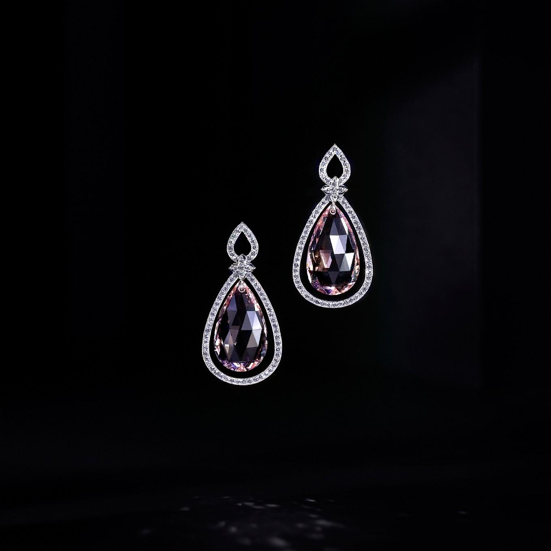 Swirl Necklace. Morganite & Sapphires