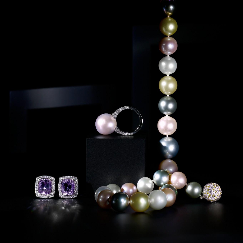 Pink - Blue - Yellow Sapphire & diamond. earrings & rings