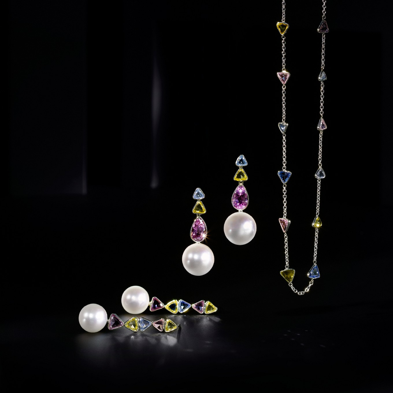 FRESHWATER PEARL, YELLOW, PINK AND BLUE SAPPHIRE D...