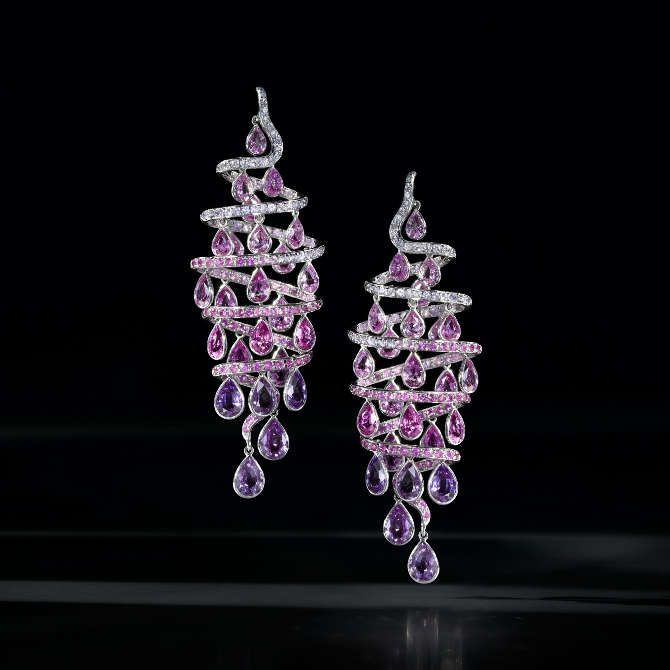 'SPIRAL' PINK & PURPLE SAPPHIRE & DIAMOND EARRINGS (SAPPHIRES 24.22 CTS)