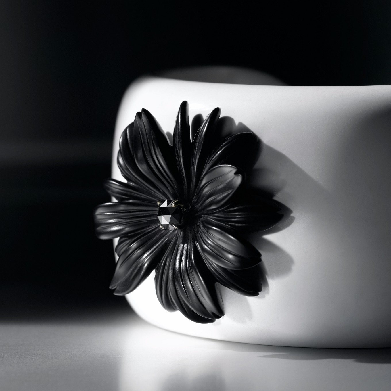 COCHOLONG CUFF WITH CARVED MATTE BLACK ONYX FLOWER & ROSE CUT BLACK DIAMOND