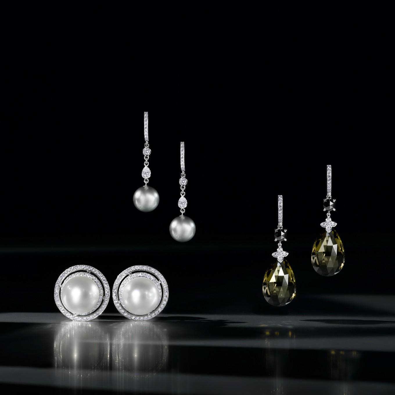 SOUTH SEA PEARL & DIAMOND FRAME EARRINGS. TAHITIAN PEARL & DIAMOND EARRINGS IN PLATINUM. SMOKEY QUARTZ, BLACK DIAMOND & WHITE DIAMOND SEVILLA EARRINGS