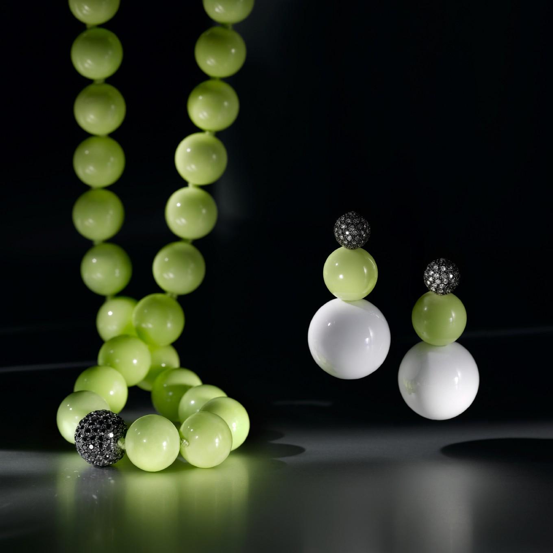 MAGNESITE & PAVE BLACK DIAMOND NECKLACE. MAGNESITE, WHITE AGATE, & PAVE DIAMOND EARRINGS