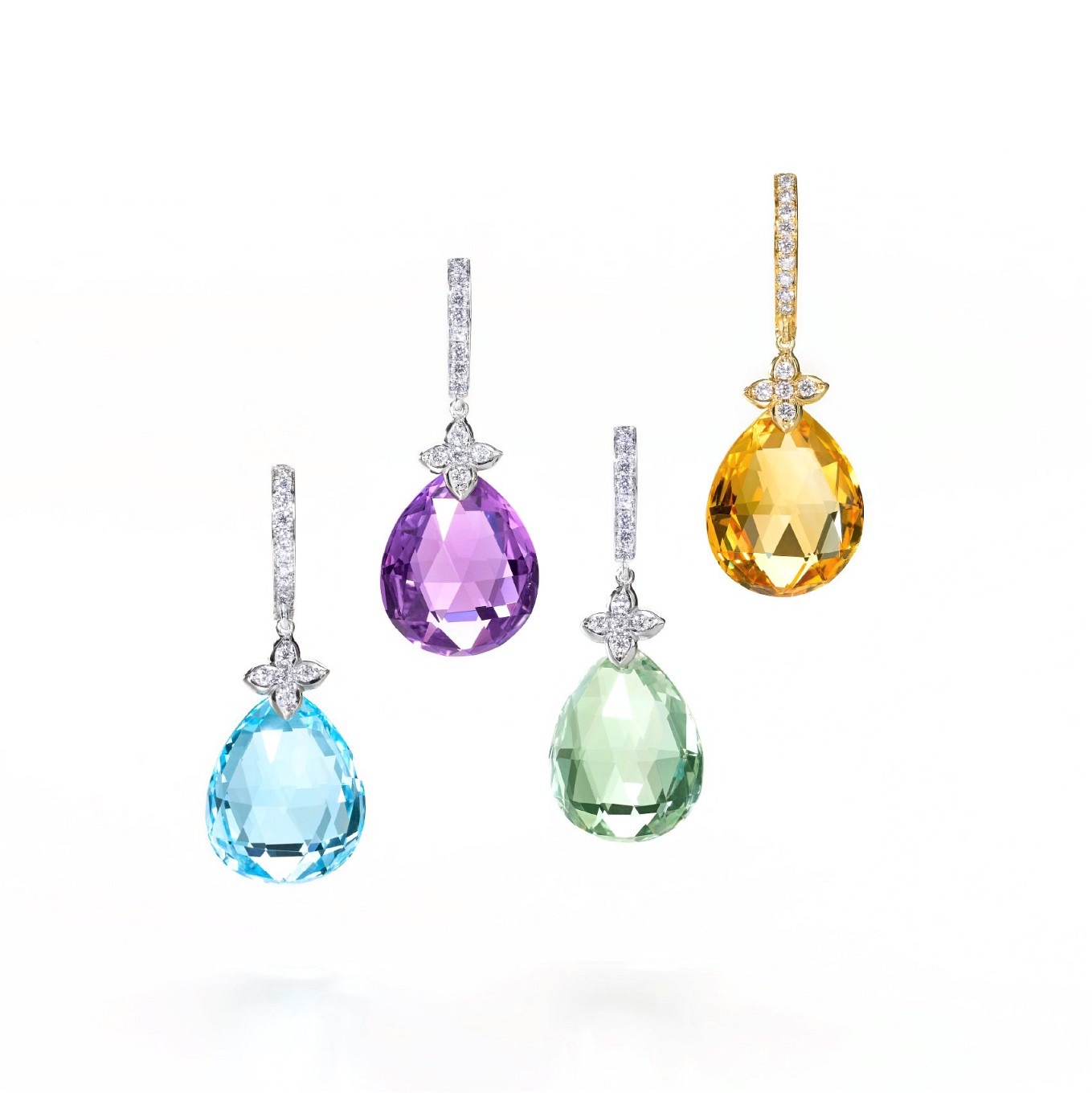 Sevilla gemstone and diamond earrings